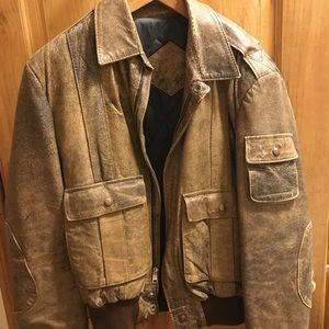 Other - Brown Leather bomber jacket